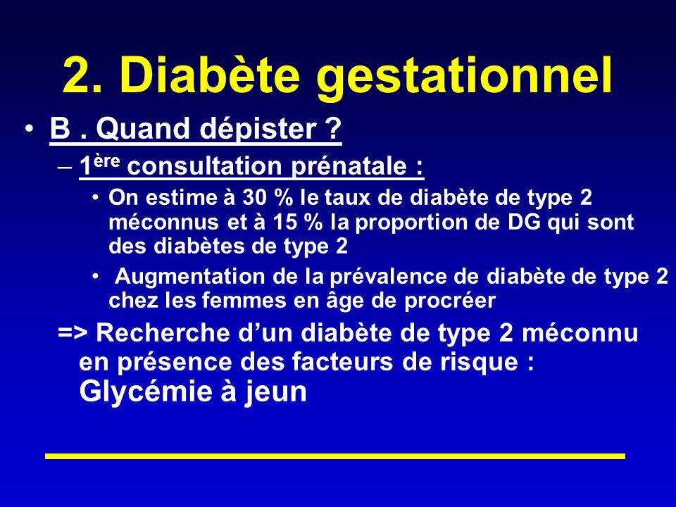 2. Diabète gestationnel B . Quand dépister