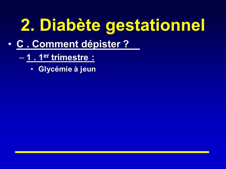 2. Diabète gestationnel C . Comment dépister 1 . 1er trimestre :