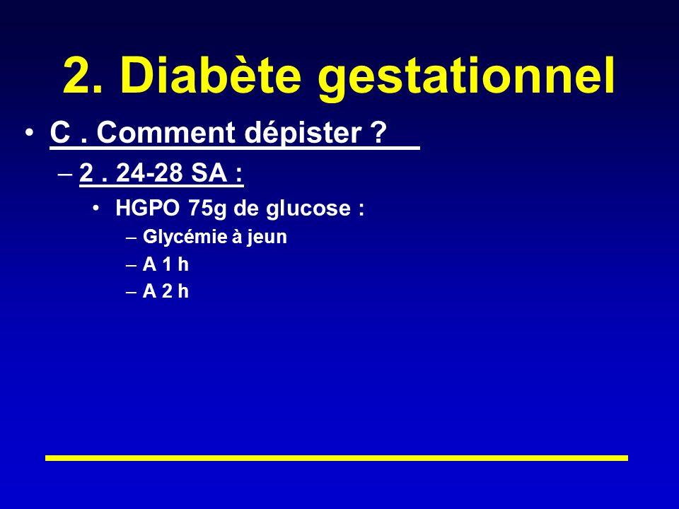 2. Diabète gestationnel C . Comment dépister 2 . 24-28 SA :