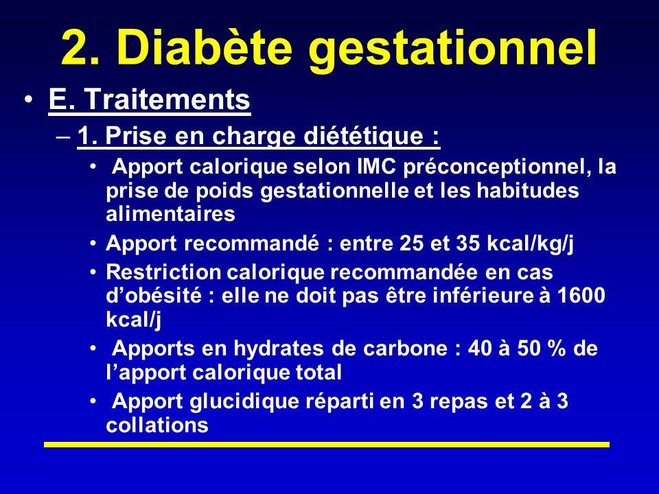 2. Diabète gestationnel E. Traitements 1. Prise en charge diététique :