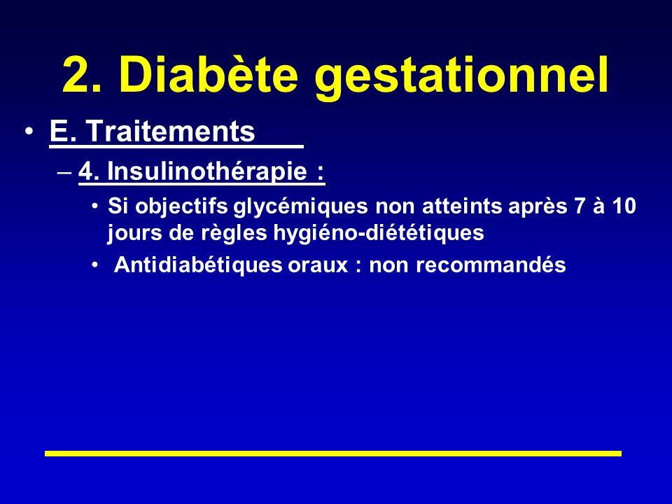 2. Diabète gestationnel E. Traitements 4. Insulinothérapie :