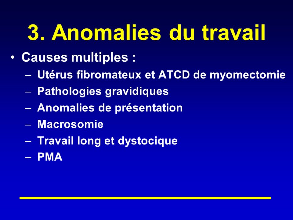 3. Anomalies du travail Causes multiples :