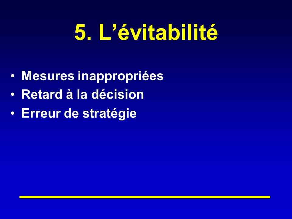 5. L'évitabilité Mesures inappropriées Retard à la décision