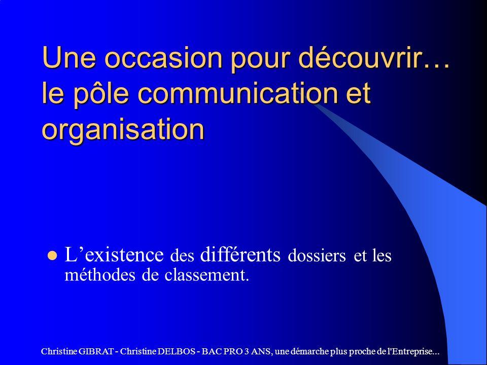 Une occasion pour découvrir… le pôle communication et organisation