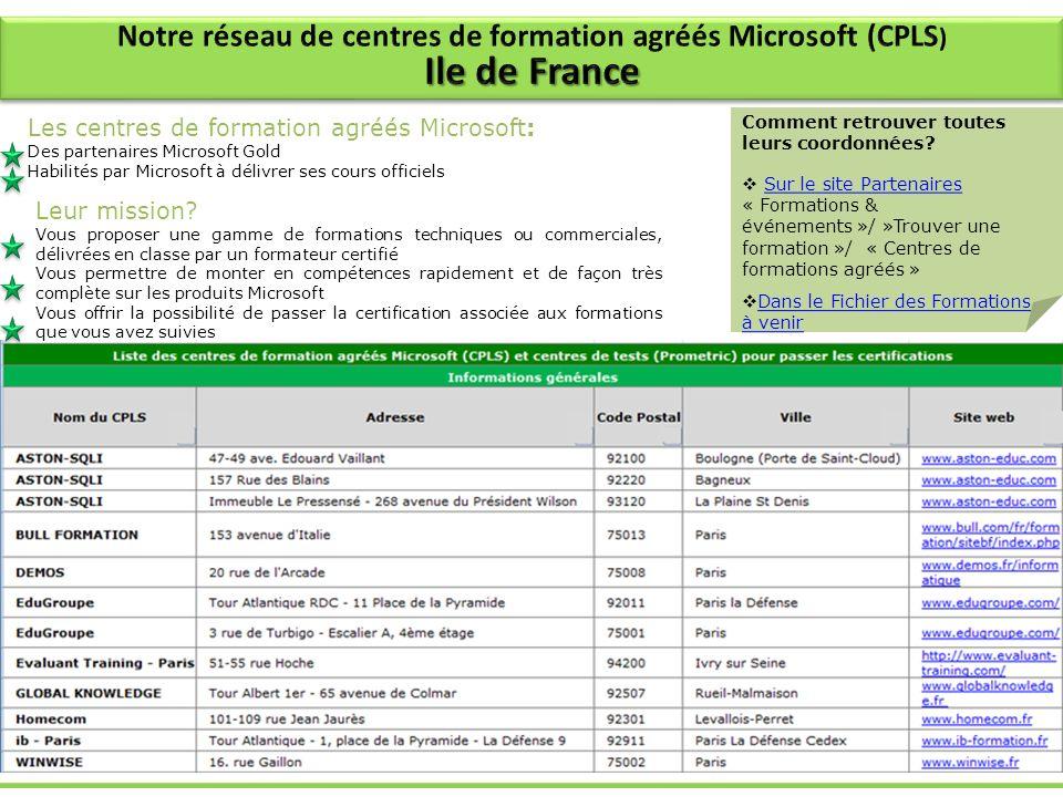 Notre réseau de centres de formation agréés Microsoft (CPLS)