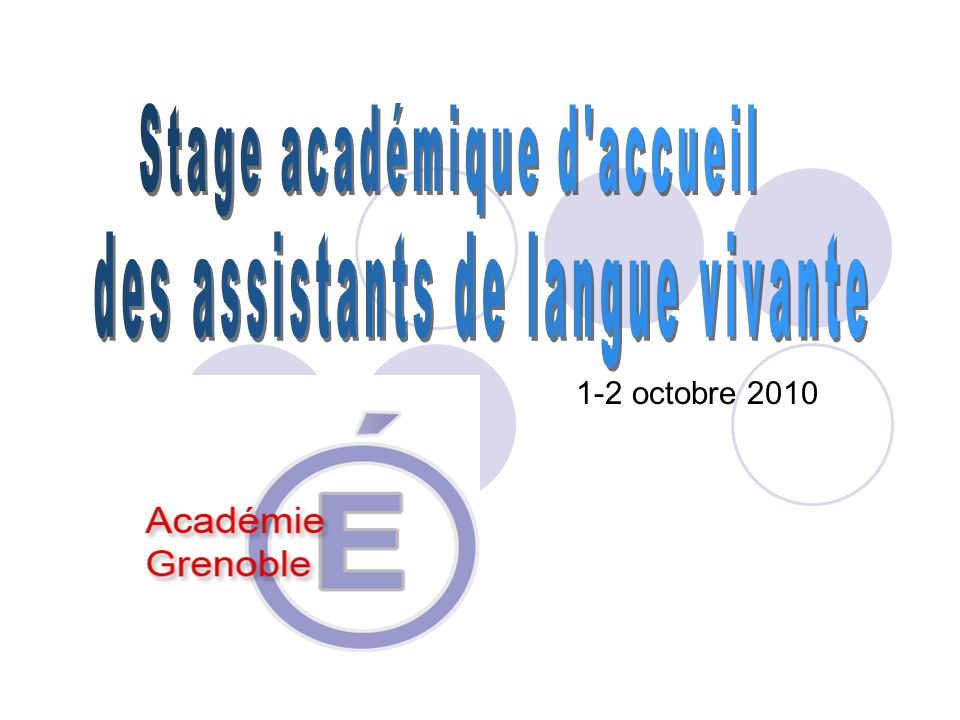 Stage académique d accueil des assistants de langue vivante