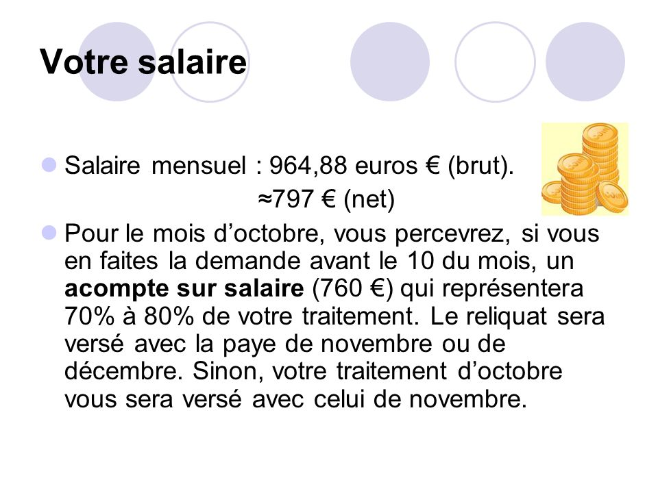 Votre salaire Salaire mensuel : 964,88 euros € (brut). ≈797 € (net)