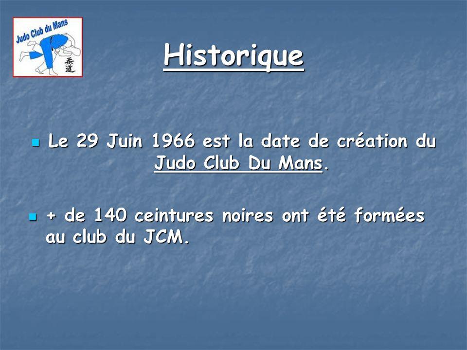 Le 29 Juin 1966 est la date de création du Judo Club Du Mans.