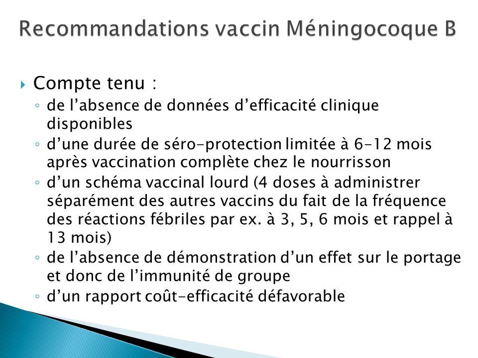 Recommandations vaccin Méningocoque B
