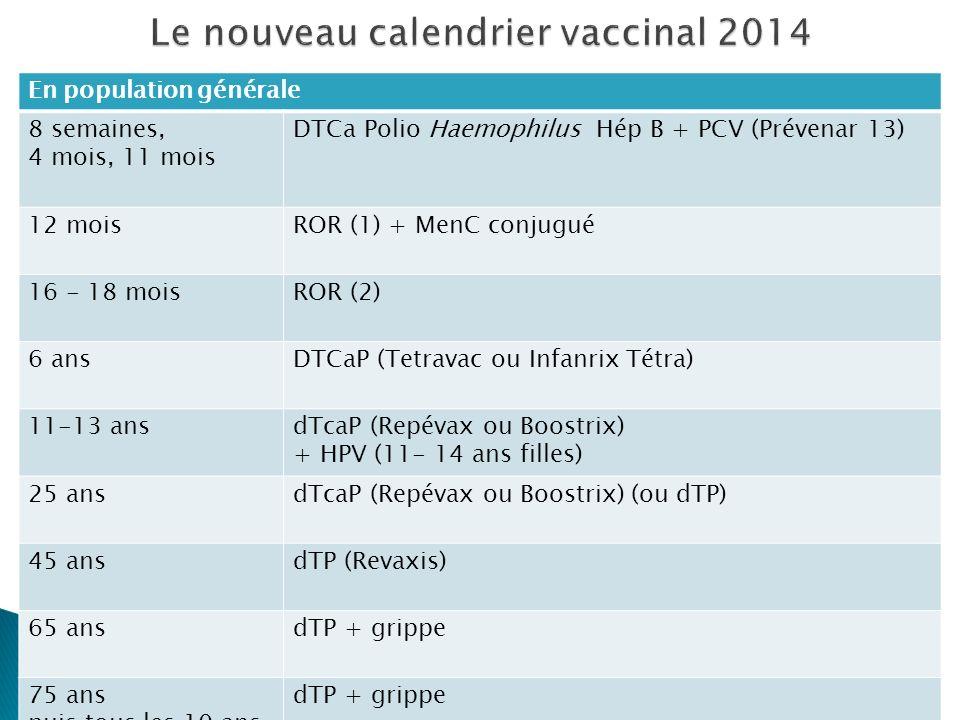 Le nouveau calendrier vaccinal 2014