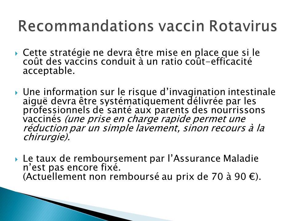 Recommandations vaccin Rotavirus