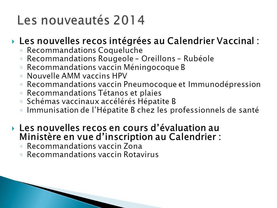 Les nouveautés 2014 Les nouvelles recos intégrées au Calendrier Vaccinal : Recommandations Coqueluche.