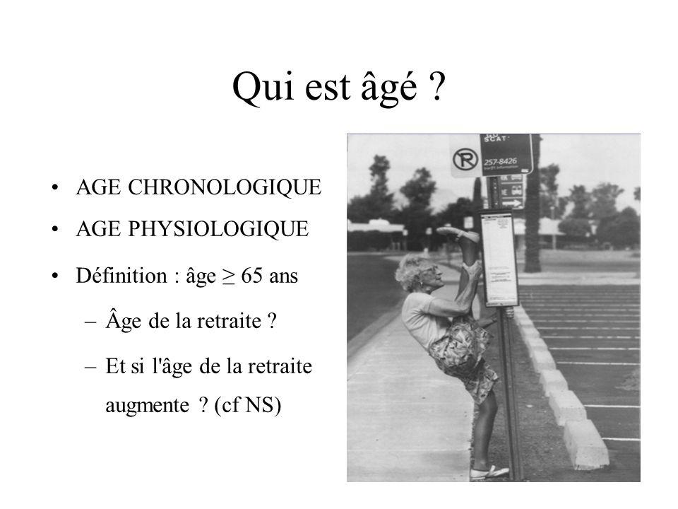 Qui est âgé AGE CHRONOLOGIQUE AGE PHYSIOLOGIQUE