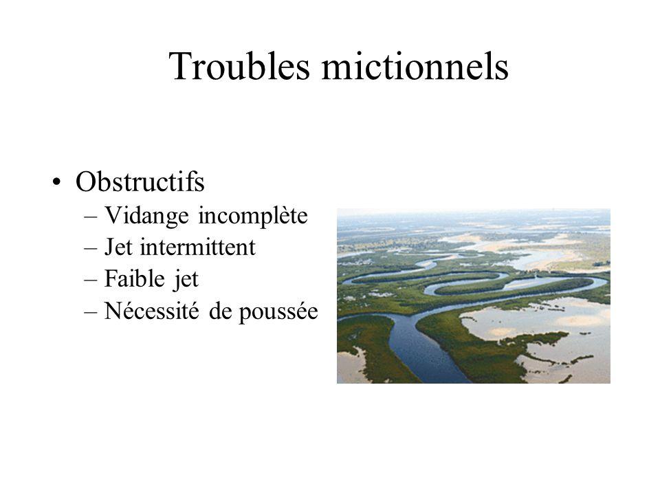 Troubles mictionnels Obstructifs Vidange incomplète Jet intermittent