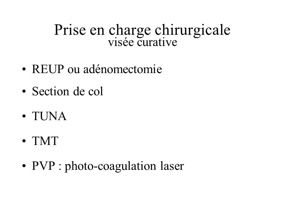 Prise en charge chirurgicale visée curative