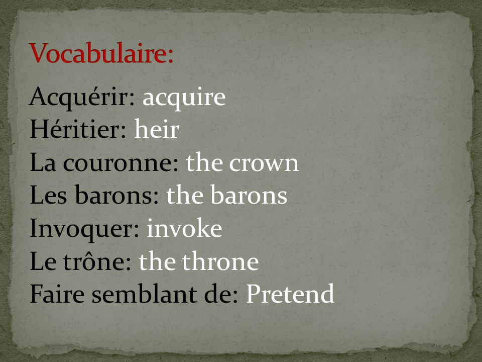 Vocabulaire: