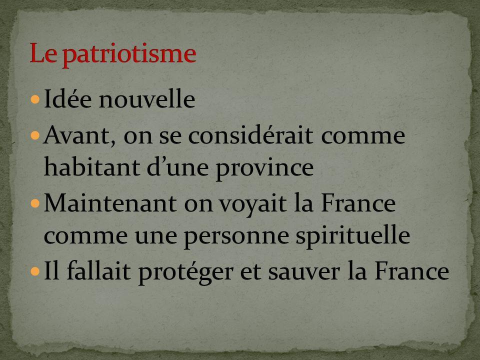 Le patriotisme Idée nouvelle