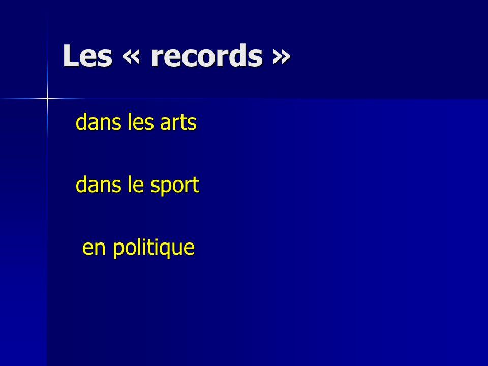 Les « records » dans les arts dans le sport en politique