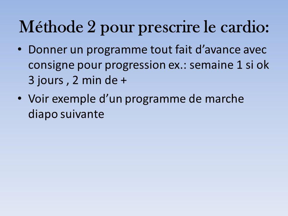 Méthode 2 pour prescrire le cardio: