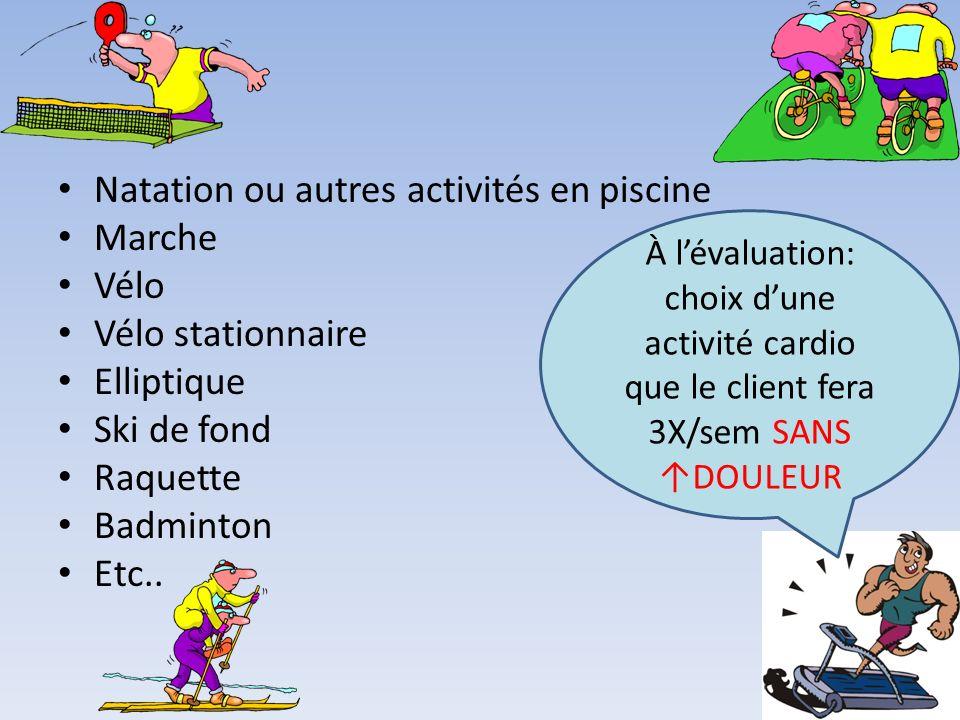 Natation ou autres activités en piscine Marche Vélo Vélo stationnaire