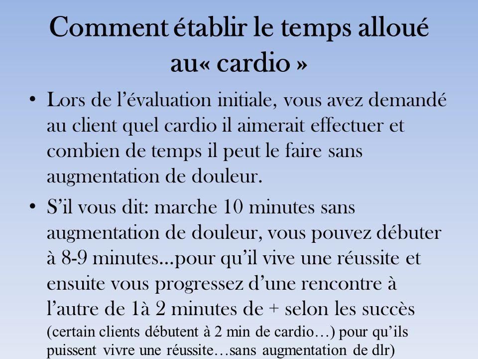 Comment établir le temps alloué au« cardio »