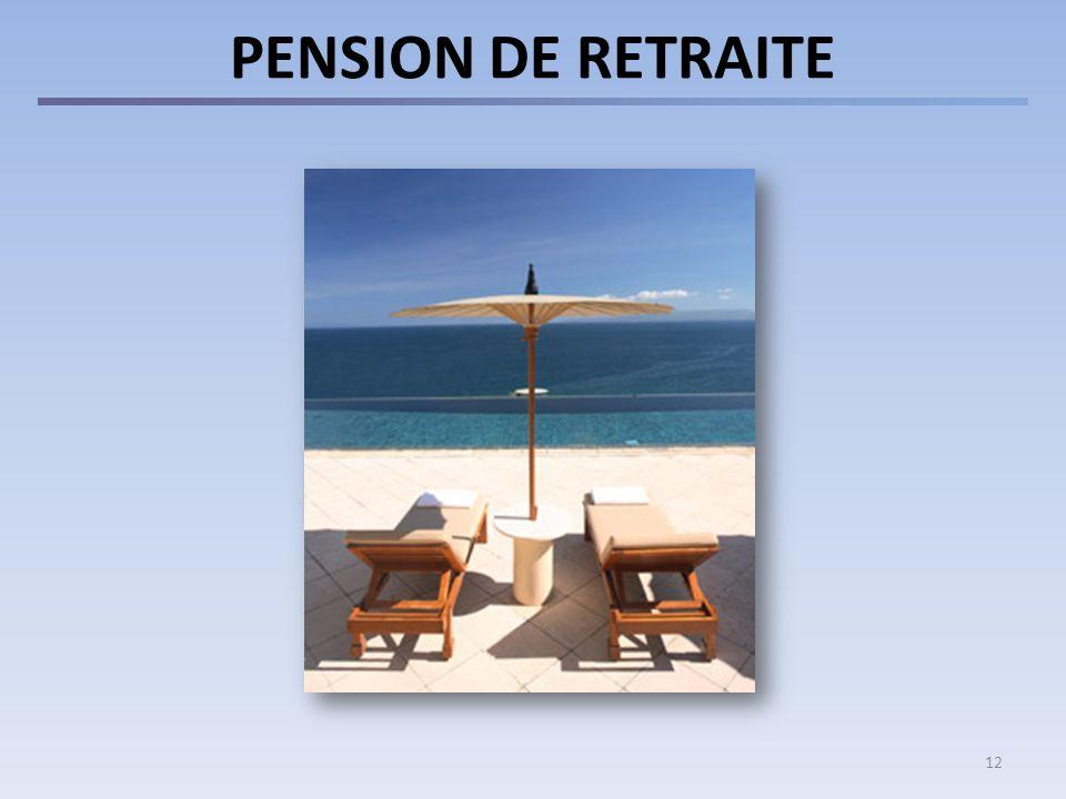 PENSION DE RETRAITE Les personnes devenues membres de la Caisse depuis le 01.01.12 et ayant au moins 5 ans de service :