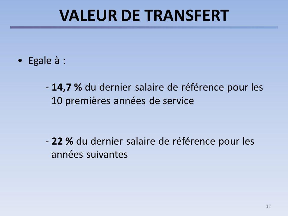Fin de service < 5 ans la valeur de transfert peut être versée à un autre régime de pensions.