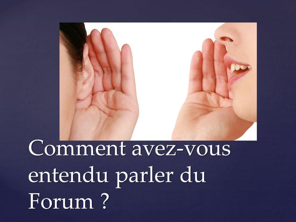 Comment avez-vous entendu parler du Forum