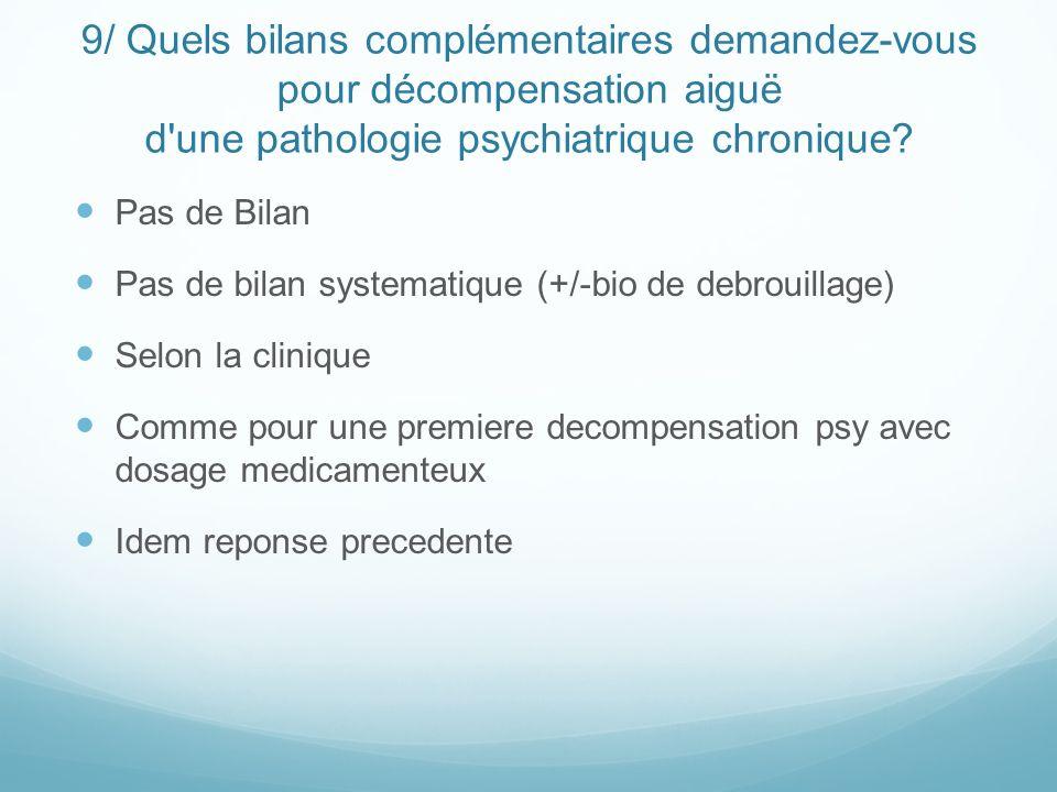 9/ Quels bilans complémentaires demandez-vous pour décompensation aiguë d une pathologie psychiatrique chronique