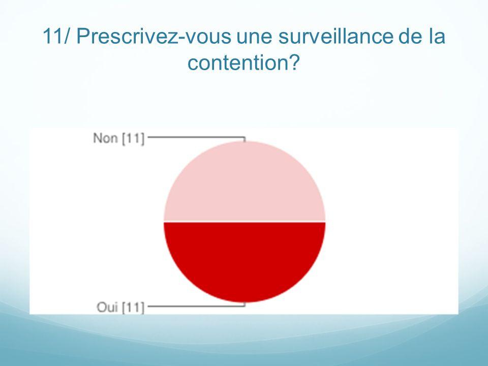 11/ Prescrivez-vous une surveillance de la contention