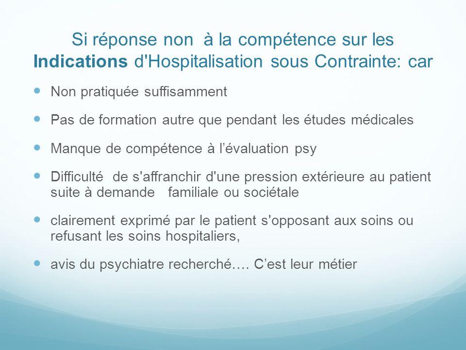 Si réponse non à la compétence sur les Indications d Hospitalisation sous Contrainte: car