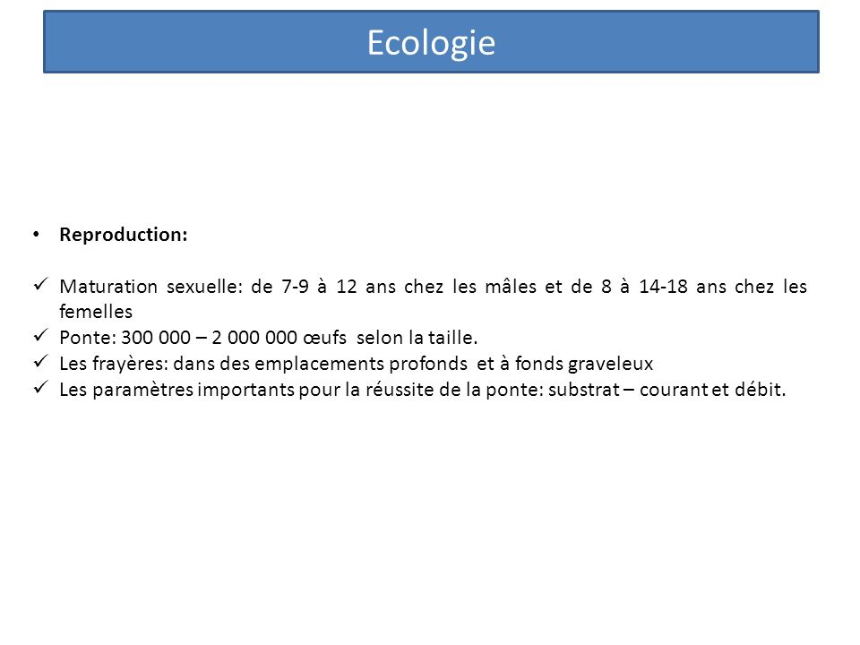 Ecologie Reproduction: