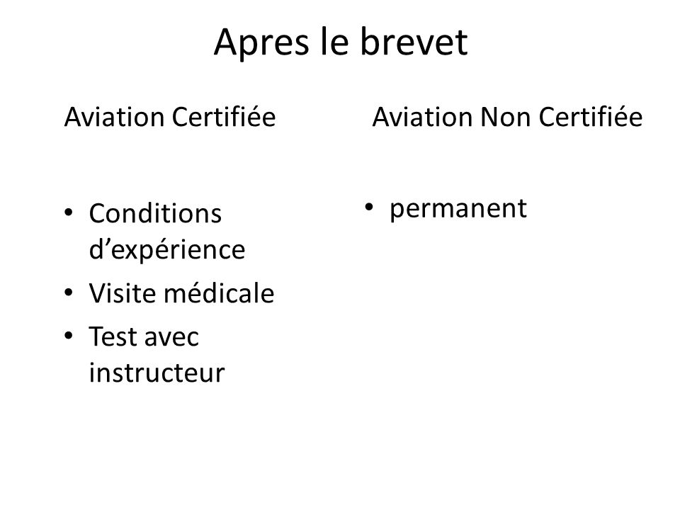 Aviation Certifiée Aviation Non Certifiée