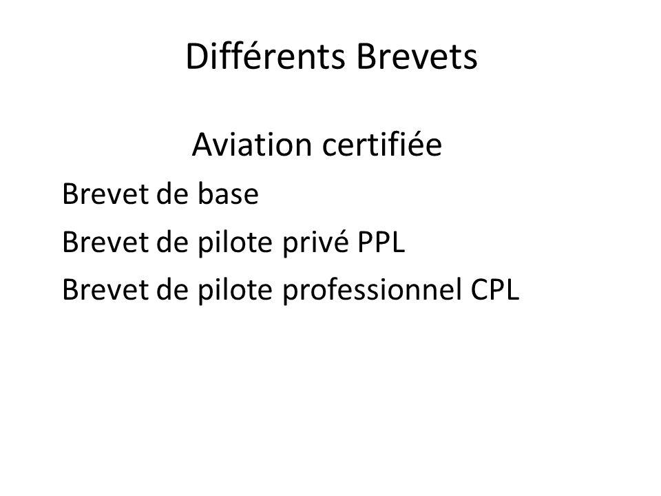 Différents Brevets Aviation certifiée Brevet de base