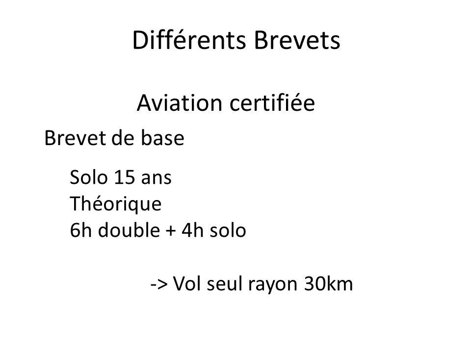 Différents Brevets Aviation certifiée Brevet de base Solo 15 ans