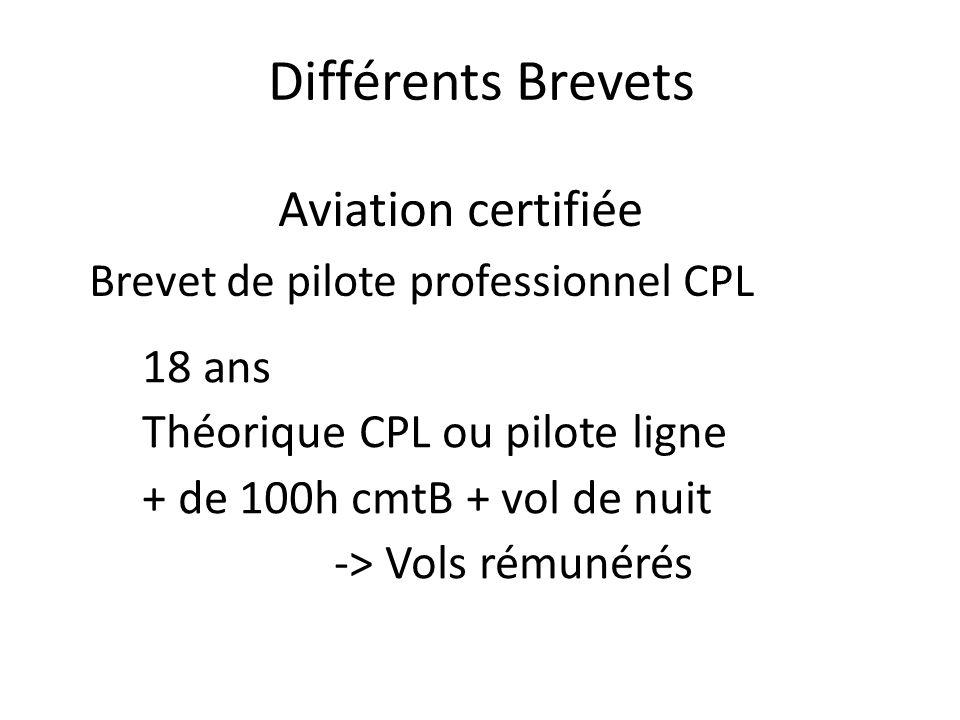 Différents Brevets Aviation certifiée 18 ans