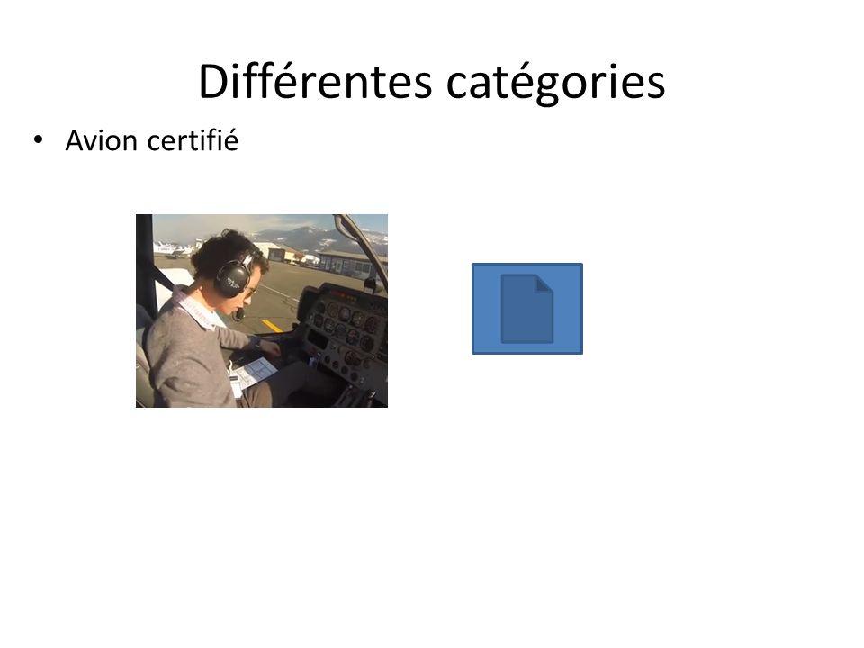 Différentes catégories