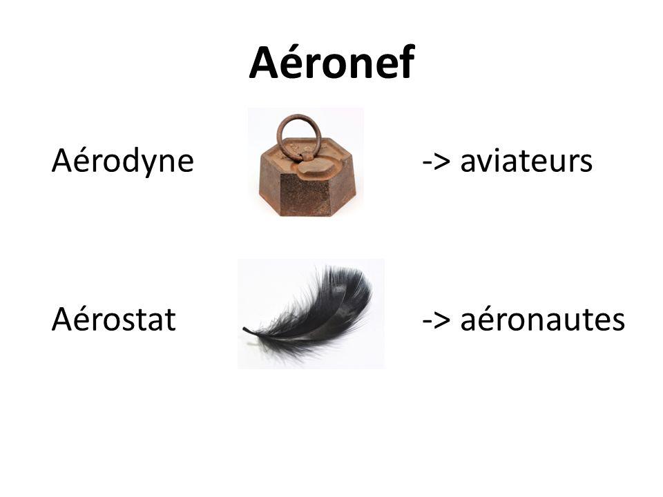 Aéronef Aérodyne Aérostat -> aviateurs -> aéronautes