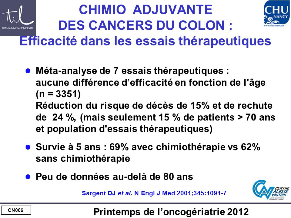 CHIMIO ADJUVANTE : CANCERS DU COLON N+
