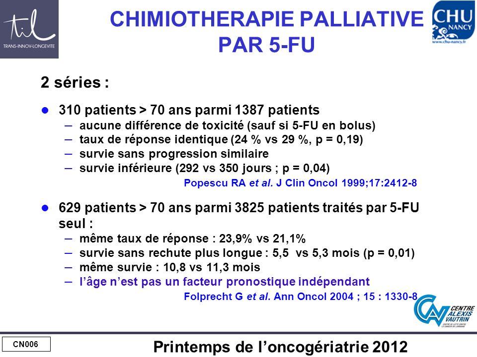 CHIMIOTHERAPIE PALLIATIVE PAR 5-FU, OXALIPLATINE ou IRINOTECAN