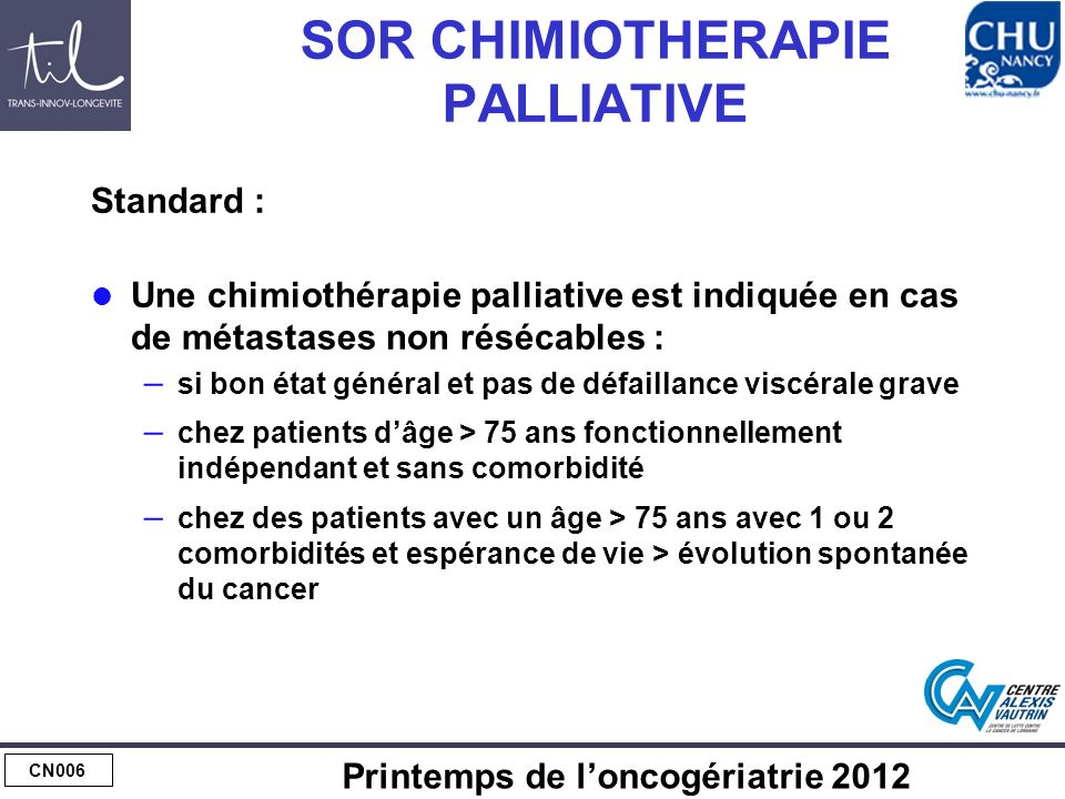 SOR CHIMIOTHERAPIE PALLIATIVE