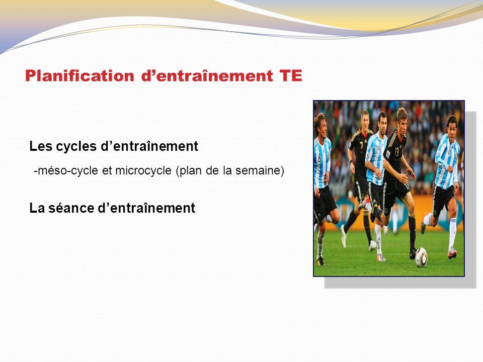 Planification d'entraînement TE