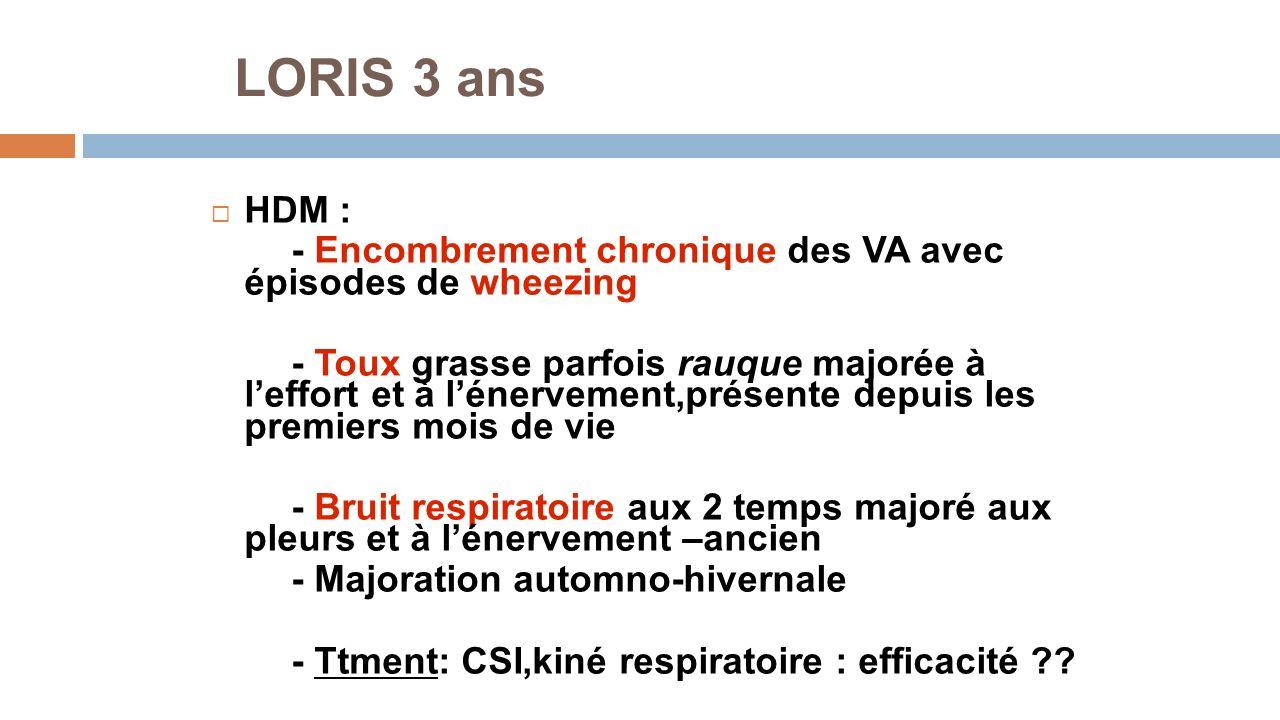 LORIS 3 ans HDM : - Encombrement chronique des VA avec épisodes de wheezing.
