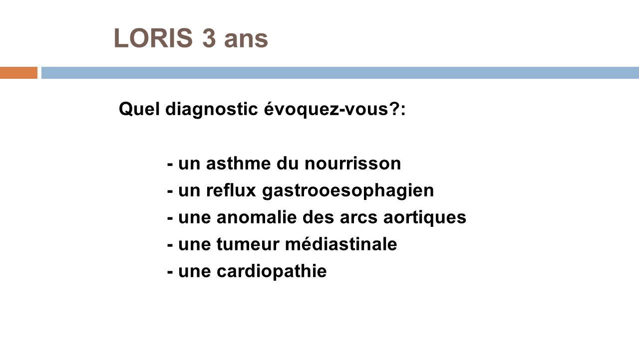 LORIS 3 ans Quel diagnostic évoquez-vous : - un asthme du nourrisson