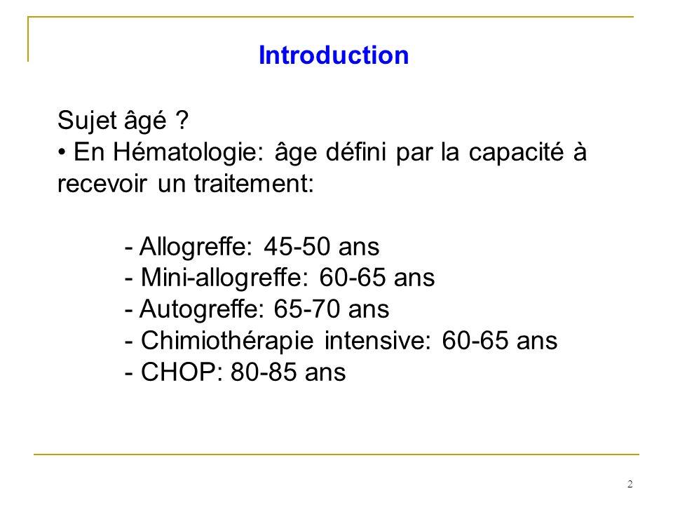 Introduction Sujet âgé • En Hématologie: âge défini par la capacité à recevoir un traitement: - Allogreffe: 45-50 ans.