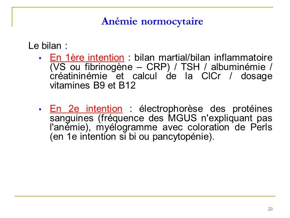 Anémie normocytaire Le bilan :