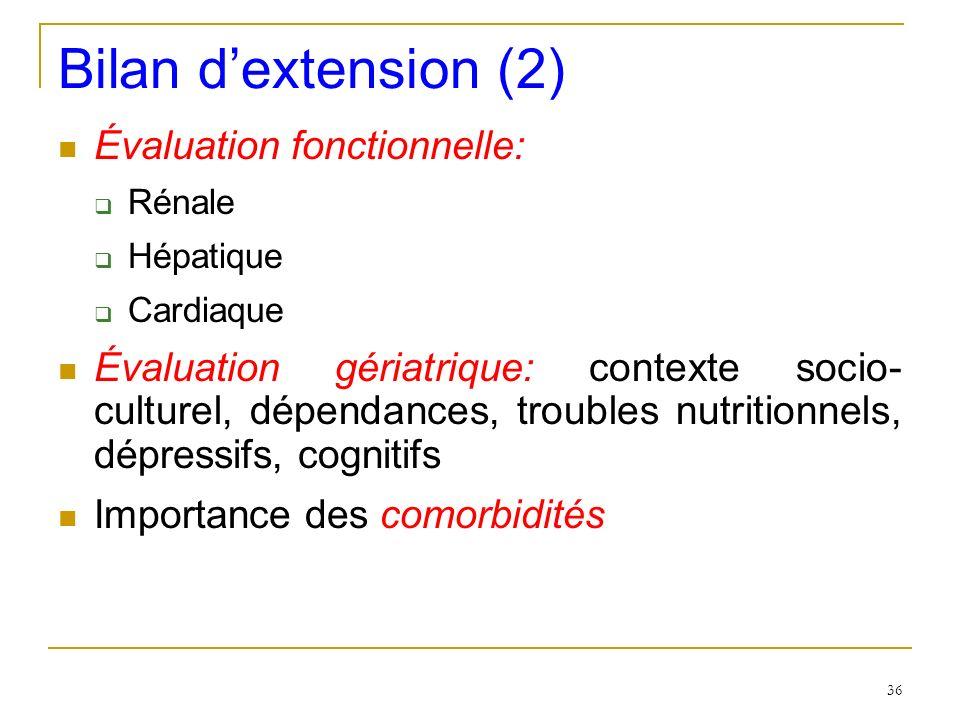 Bilan d'extension (2) Évaluation fonctionnelle: