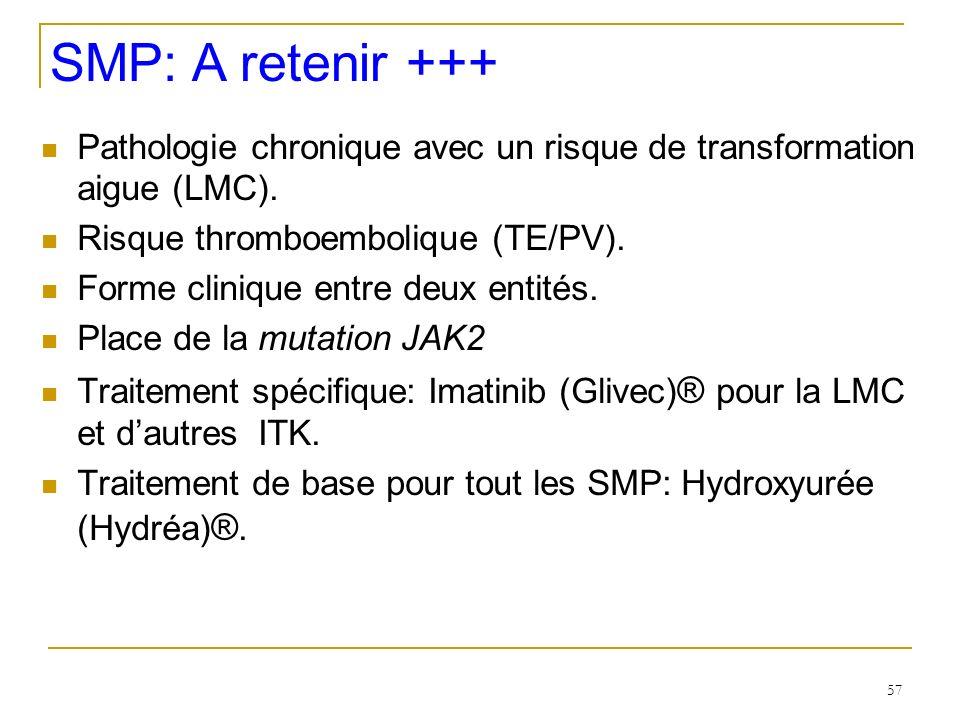 SMP: A retenir +++ Pathologie chronique avec un risque de transformation aigue (LMC). Risque thromboembolique (TE/PV).