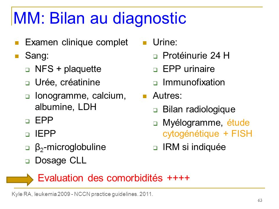 MM: Bilan au diagnostic