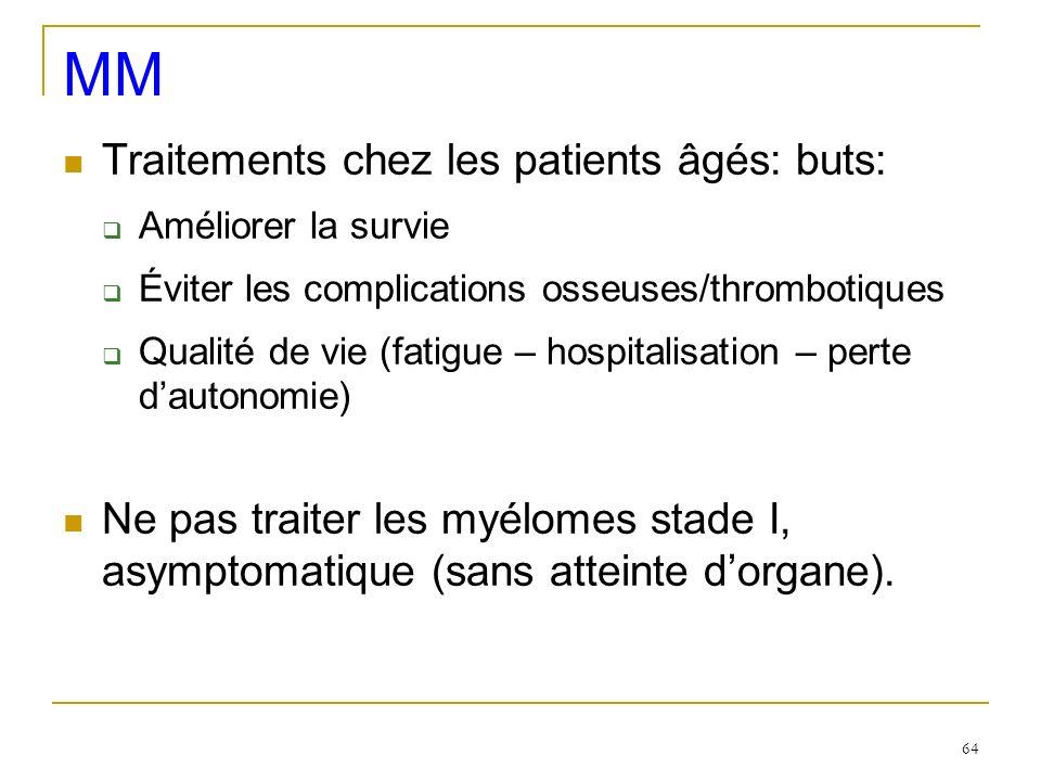MM Traitements chez les patients âgés: buts: